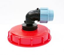 "IBC Storage Tank Topfill Cap (6"" Coarse Thread) with Angled MDPE Compression Inlet"